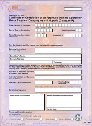 Motorcycle compulsory basic training (CBT) completion certificate