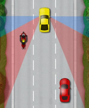 Motorcycles avoid blind spots on a car