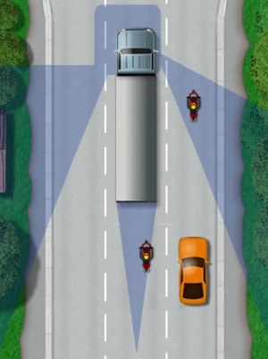 Blind spot of large vehicles