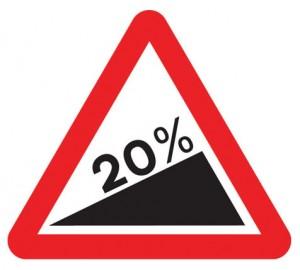 Uphill gradient road sign