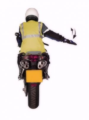 Motorcycle arm signal slowing down or stopping