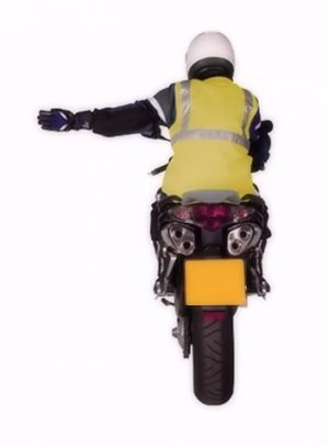 Motorcycle arm signal turning left