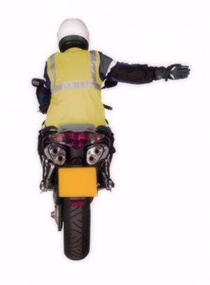 Motorcycle arm signal turning right