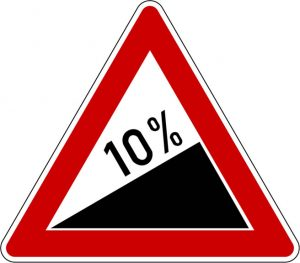 Uphill 10% gradient road sign