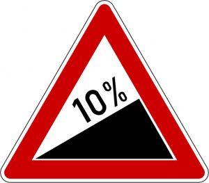 Uphill 10% gradient road sign