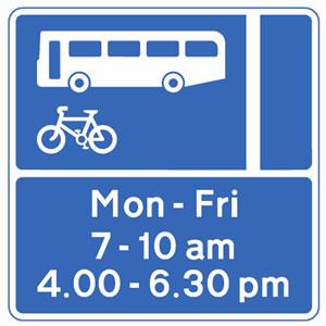 Motorcycle theory test prohibitory bus lane sign