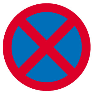 Motorcycle theory test prohibitory 'Clearway' must not stop sign