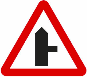 Motorcycle theory test warning road sign - junctions