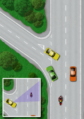 Y-junction hazards for motorcyclists