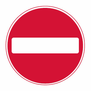 Motorcycle theory test prohibitory no entry sign