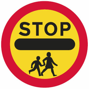 Mandatory School Crossing stop sign