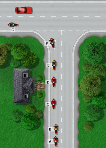 Approaching a T-junction to turn left motorcycle tutorial