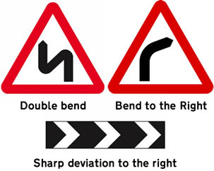 Bend in the road signs