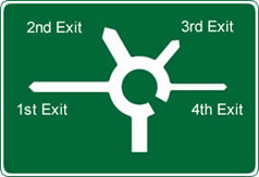 Roundabout advance warning sign, usually with lanes and multiple exits