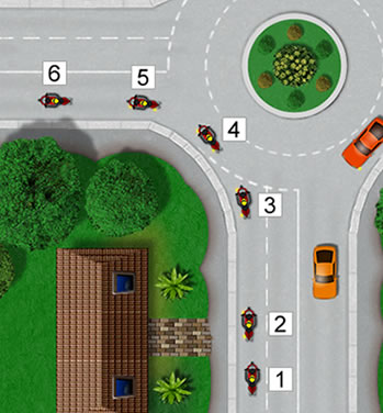 Motorcycle roundabout procedure - making a left turn