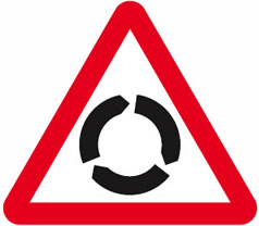 Roundabout advance warning sign