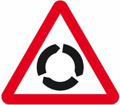 Roundabout advance warning sign