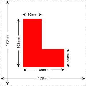 Motorcycle and moped L plate law and size