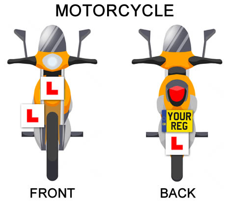 Where to put L plates on a motorcycle